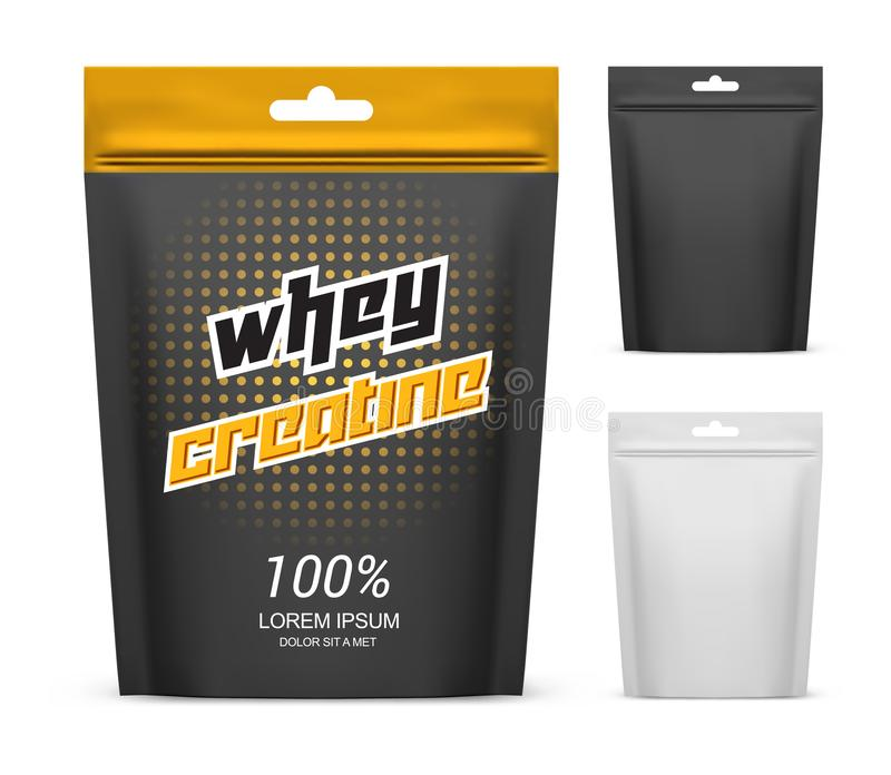Paper pack with whey creatine powder. Supplement vector illustration