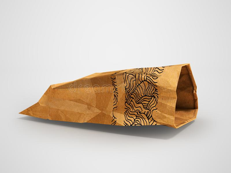Paper package lies open side view 3d rendering on gray background with shadow. Heavy paper bags of coated paper are suitable for packaging various purchases in royalty free illustration