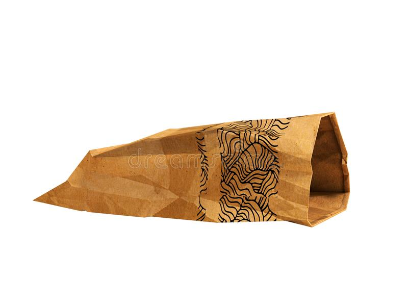 Paper package lies open side view 3d rendering on white background no shadow. Heavy paper bags of coated paper are suitable for packaging various purchases in vector illustration