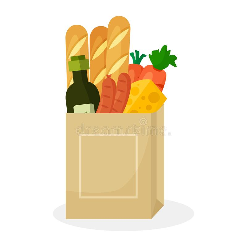 Paper package with products. Baguette bread, cheese, olive oil, carrots and sausages. Vector. Illustration royalty free illustration