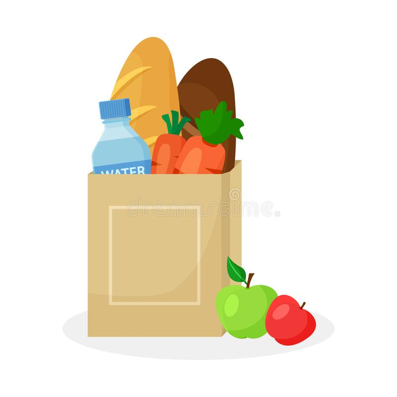 Paper package with products. Wheat and rye bread loaf, carrots, bottle of water and apples. Vector. Illustration vector illustration