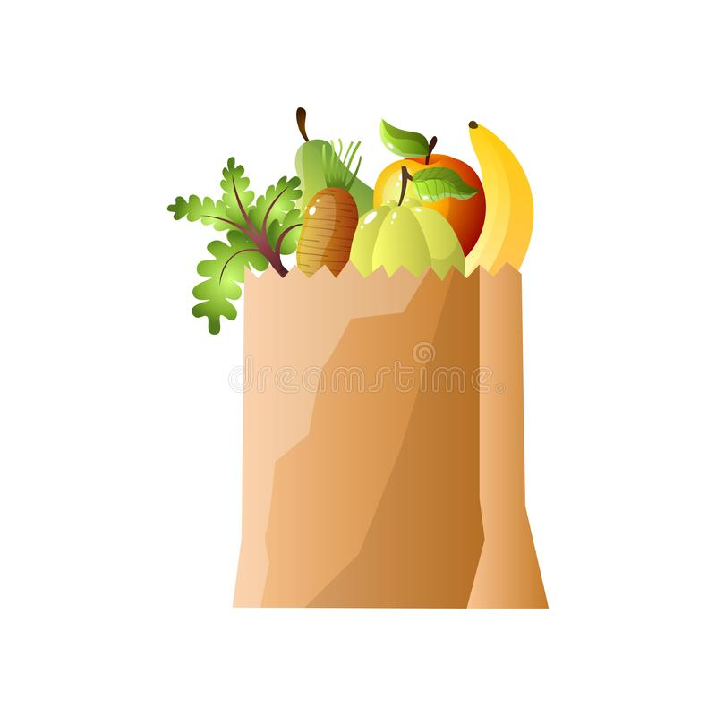 Paper package of vegetables and fruits, banana, apple, pomelo. Radish, carrot. Cartoon style. Vector illustration on white background vector illustration
