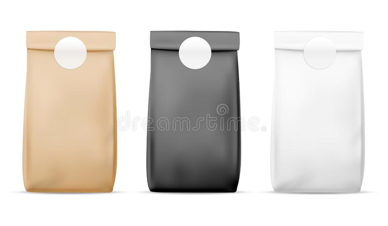 Paper packaging food bag. Blank white, brown and black bag. Product container package. Retail meal wrap realistic vector stock illustration