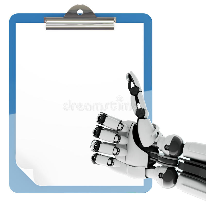 Paper pad holder and robotic arm stock illustration