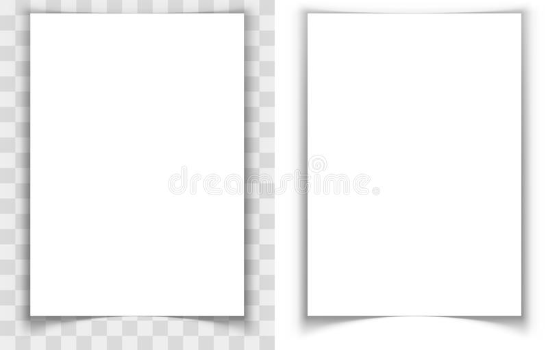 A4 paper page curled edges shadow effect vector illustration