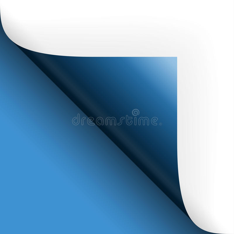 Paper / page turning over bottom left blue. Paper or page turning over bottom left blue stock illustration