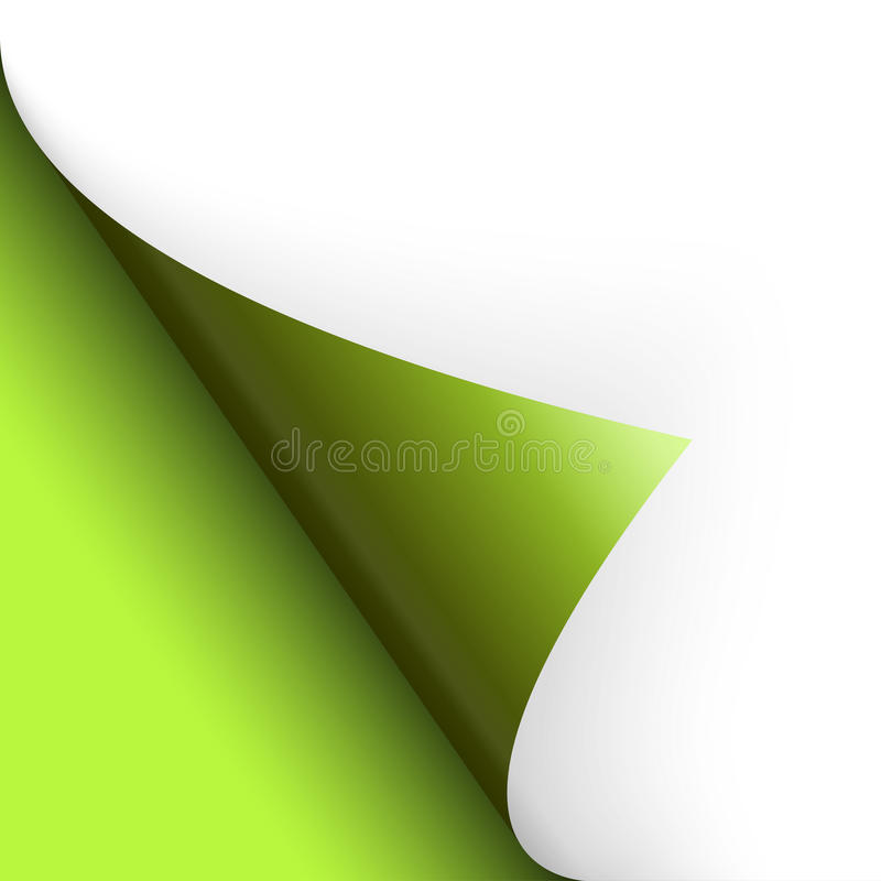 Paper / page turning over bottom left green. Paper corner botton left turning Overall green royalty free illustration