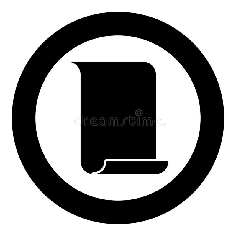 Paper papyrus Old scroll paper Important document with parchment for template icon black color illustration in circle round. Paper papyrus Old scroll paper vector illustration