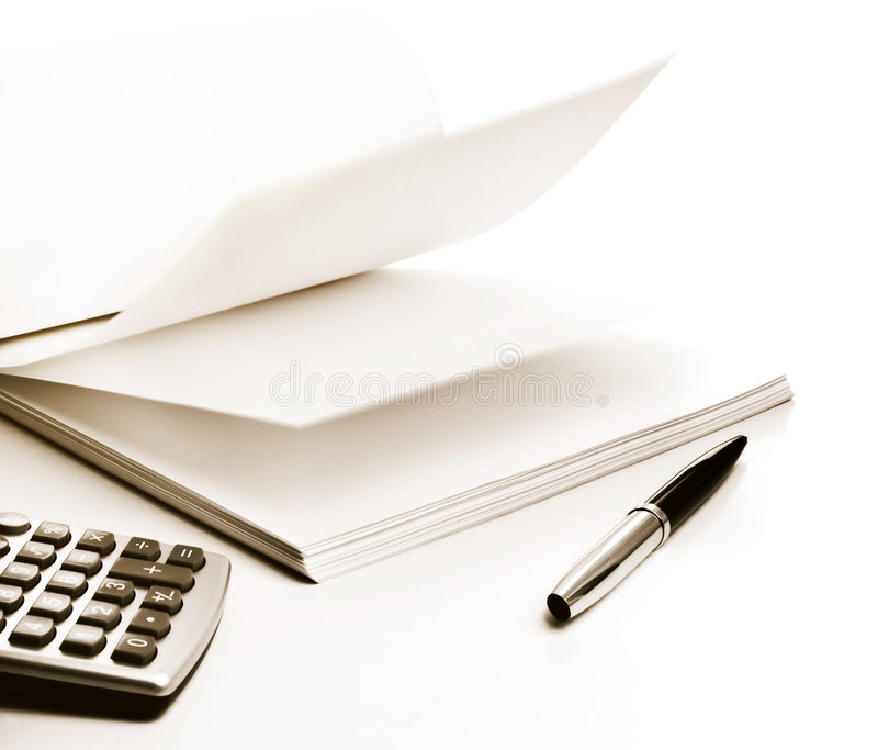 Paper, Pen And Calculator Royalty Free Stock Photo - Image: 6690075