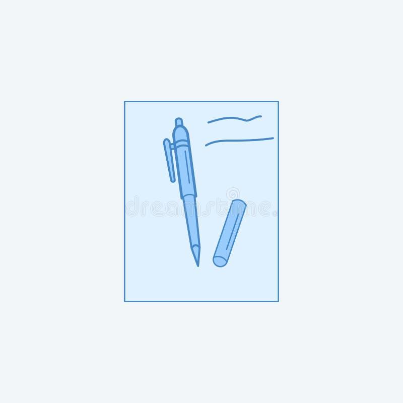 Paper And Pen 2 colored line icon. Simple dark and light blue element illustration. Paper And Pen concept outline symbol design fr stock illustration