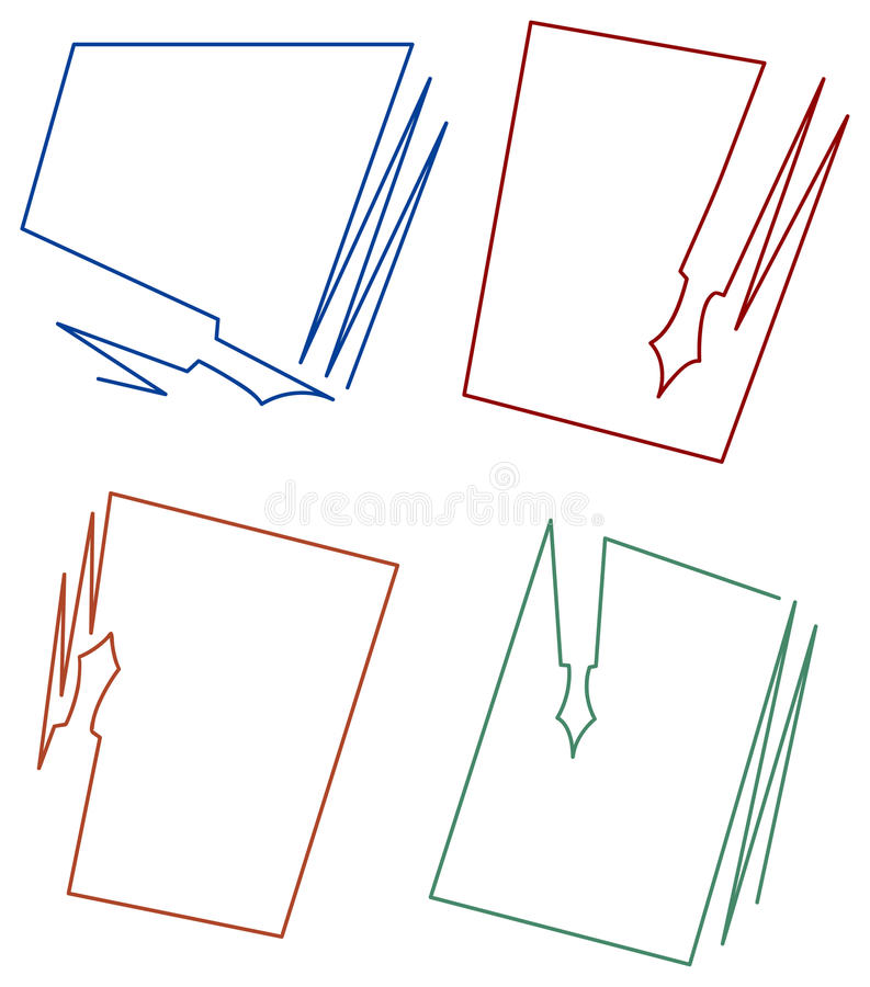 Paper and pen frame designs. Isolated line art paper and pen frame designs vector illustration