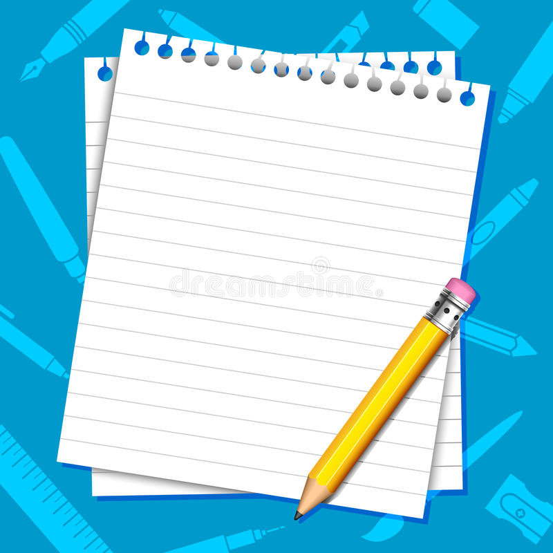 Paper And Pencil Background stock illustration