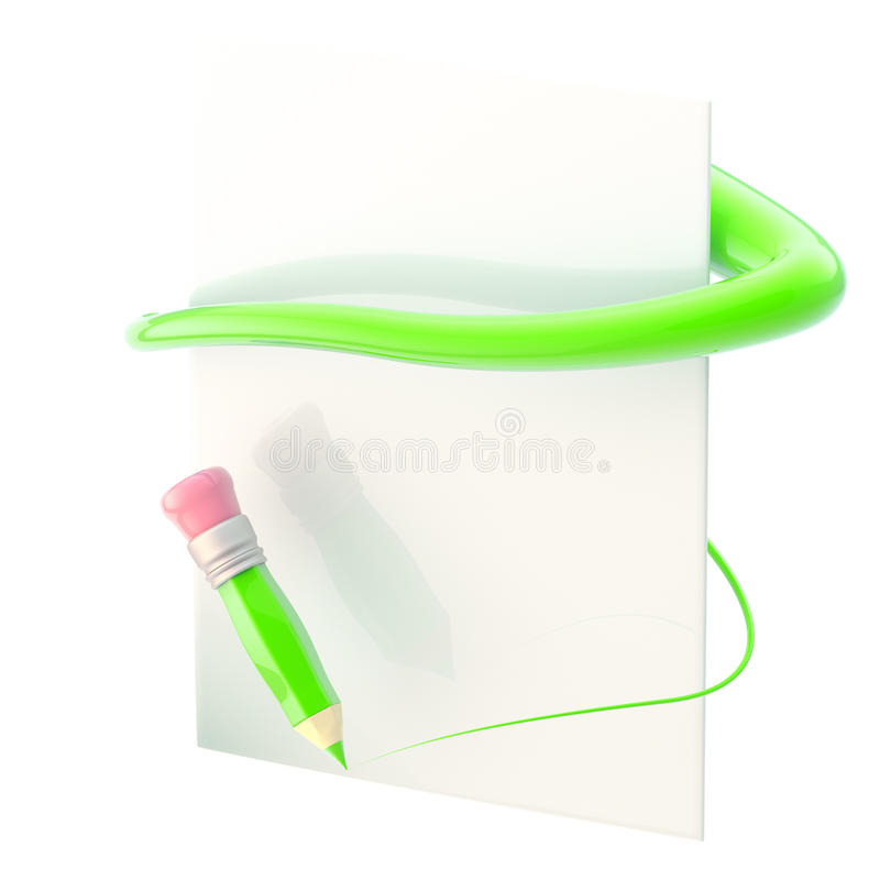 Download Paper And Pencil With Green Path Trace Stock Illustration - Image: 25330281