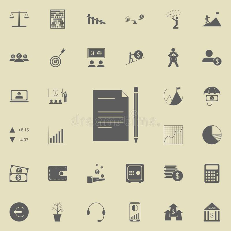 Paper with a pencil icon. Detailed set of Finance icons. Premium quality graphic design sign. One of the collection icons for webs. Ites, web design, mobile app royalty free illustration