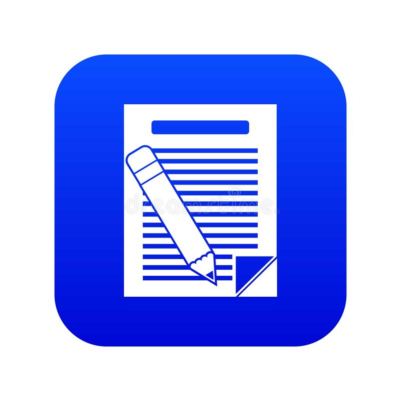 Paper and pencil icon digital blue stock illustration