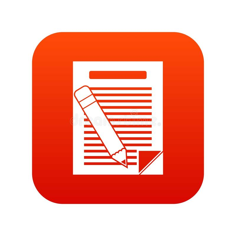 Paper and pencil icon digital red vector illustration