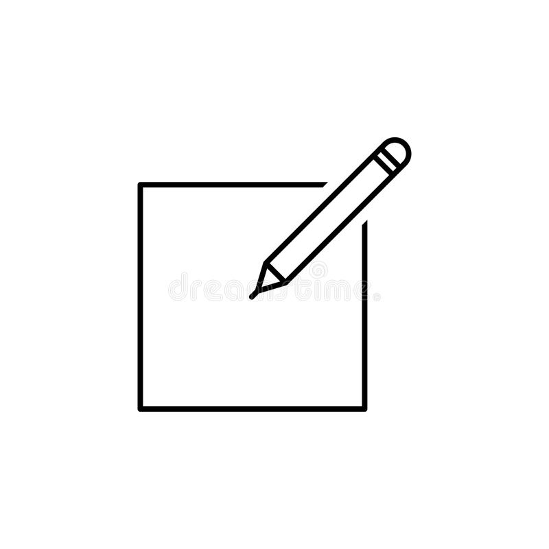 paper and pencil icon. Element of simple icon in material style for mobile concept and web apps. Thin line icon for website design royalty free illustration