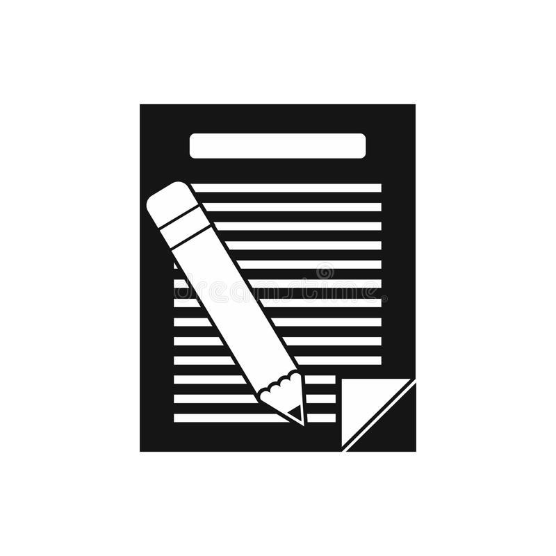 Paper and pencil icon, simple style royalty free illustration