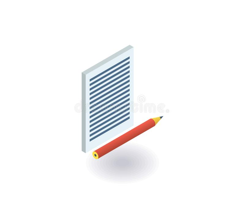 Paper and pencil icon. Vector illustration in flat isometric 3D style.  stock illustration