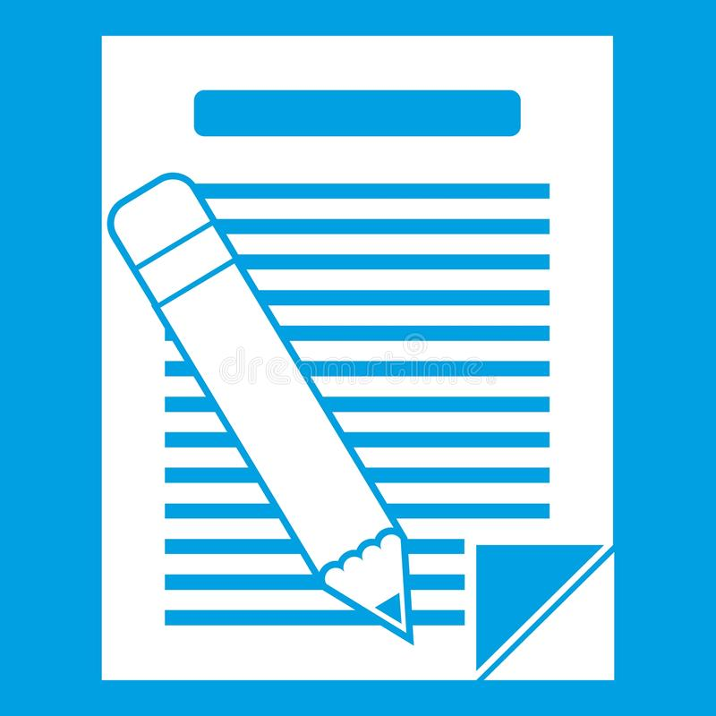 Paper and pencil icon white stock illustration