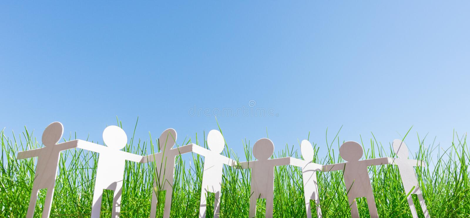 Paper people chain, ecology concept royalty free stock photography