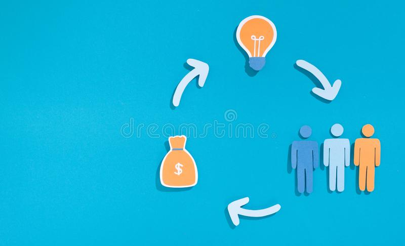 Paper people, money and bulb idea connecting with arrows. Cycle of crowdfunding. Paper people, money and bulb idea connecting with arrows, panorama, copy space royalty free stock photos