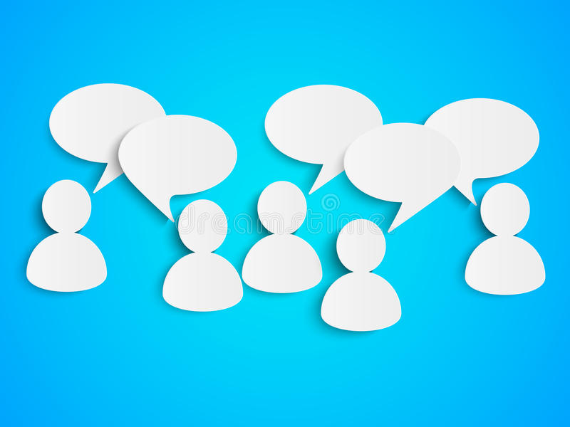 Paper people with speech bubbles royalty free illustration