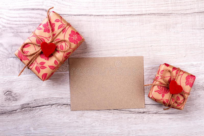 Paper piece and gift boxes. stock photography
