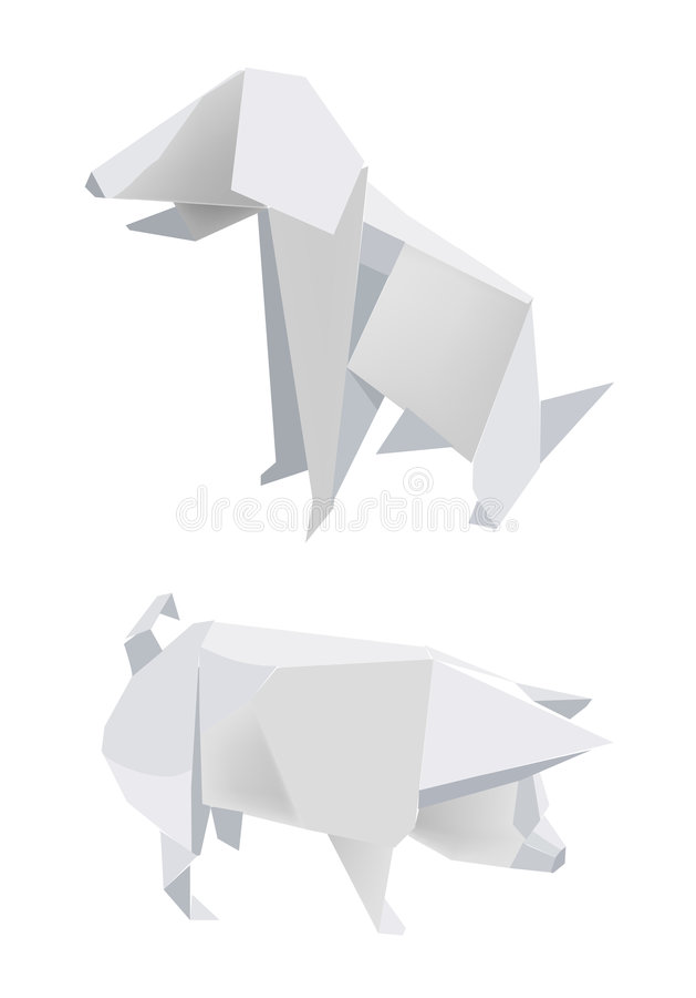 Paper_pig_dog stock illustratie