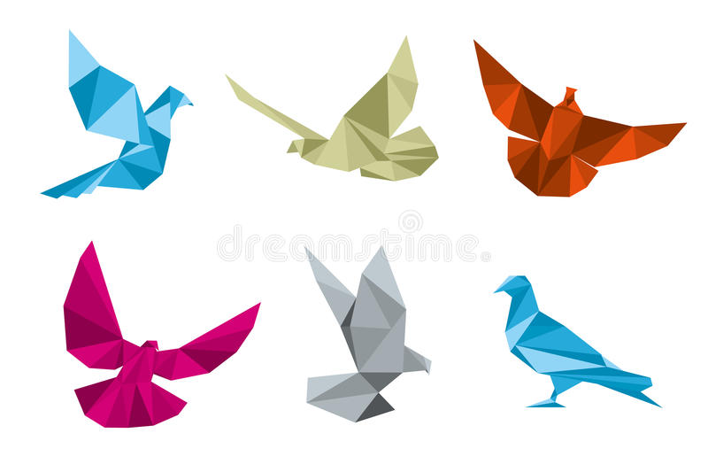 Paper pigeons, doves origami vector set. Dove and bird, wing dove paper, origami dove polygon illustration royalty free illustration