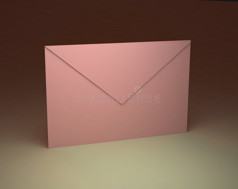 Paper pink envelope. The drawn paper pink envelope one isolated stock illustration