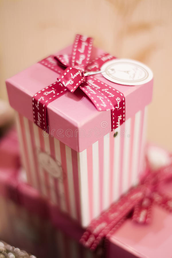 Paper pink striped box royalty free stock photography