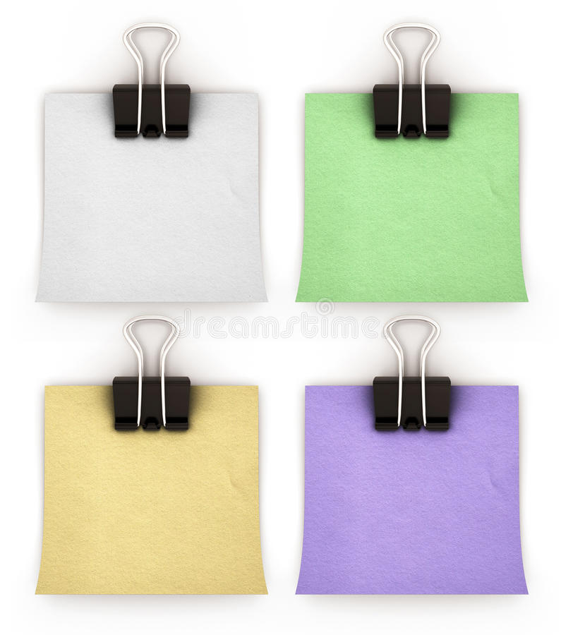 Paper pinned binder clips on a white background. 3d render image stock illustration