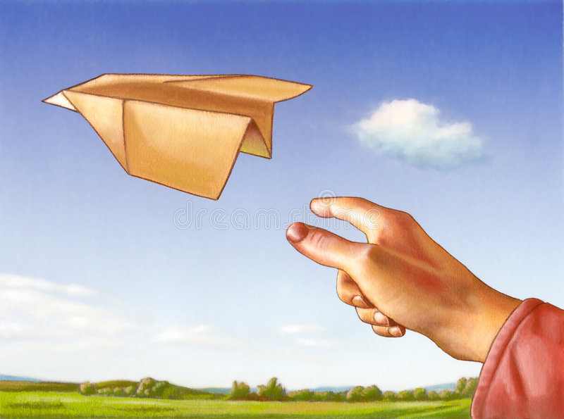 Paper plane. Hand throwing a paper plane through a clear blue sky. Mixed media illustration royalty free stock photos