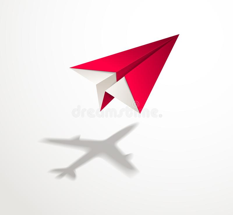 Paper plane casting shadow of jet airliner, origami folded toy p. Lane 3d realistic vector illustration. Vision and aspiration dream concept, airlines, air vector illustration