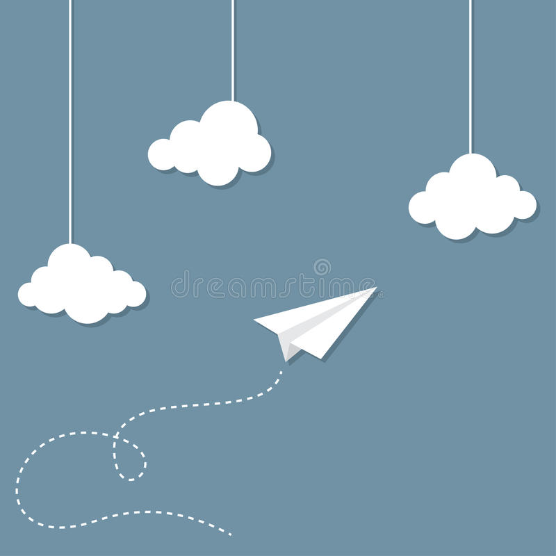 Paper plane. And clouds hanging. Travelling and freedom concept stock illustration