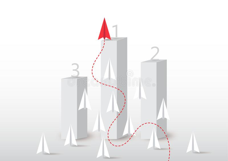 Plane competition with red plane ahead on number one podium, business competition leadership ambitious successful goal concept. Paper plane competition with red stock illustration