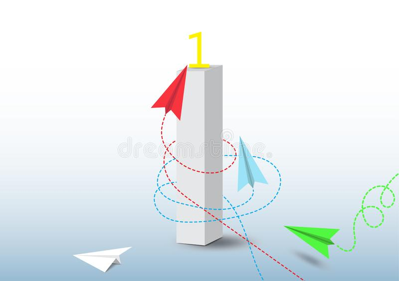 Paper plane competition to number one, business competition leadership ambitious successful goal concept. Vector illustration royalty free illustration