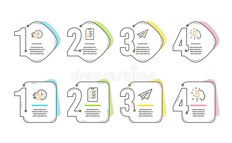 Paper plane, Dishwasher timer and Interview icons set. Bitcoin think sign. Vector. Paper plane, Dishwasher timer and Interview icons simple set. Bitcoin think vector illustration