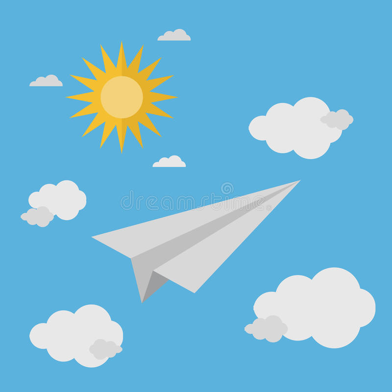 Paper plane flying in the bright sky stock images