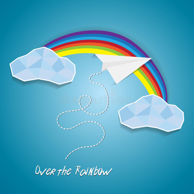 Paper plane flying between clouds and over rainbow.Idea success cutout poster background with text stock illustration