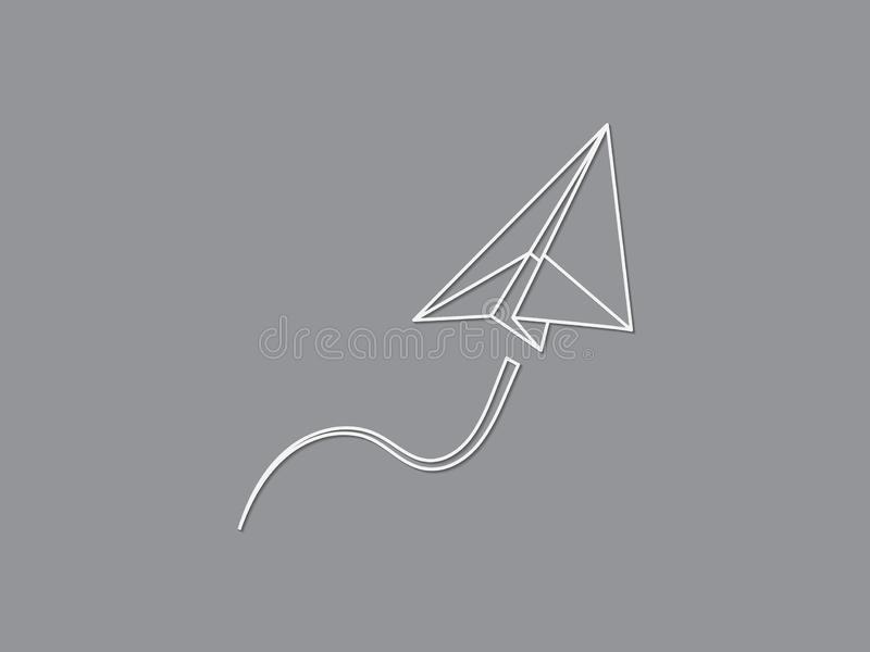 A paper plane flying up smoothly for transport and aviation business on black background vector vector illustration