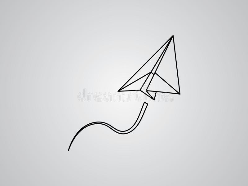A paper plane flying up smoothly for transport and aviation business on white background vector royalty free illustration