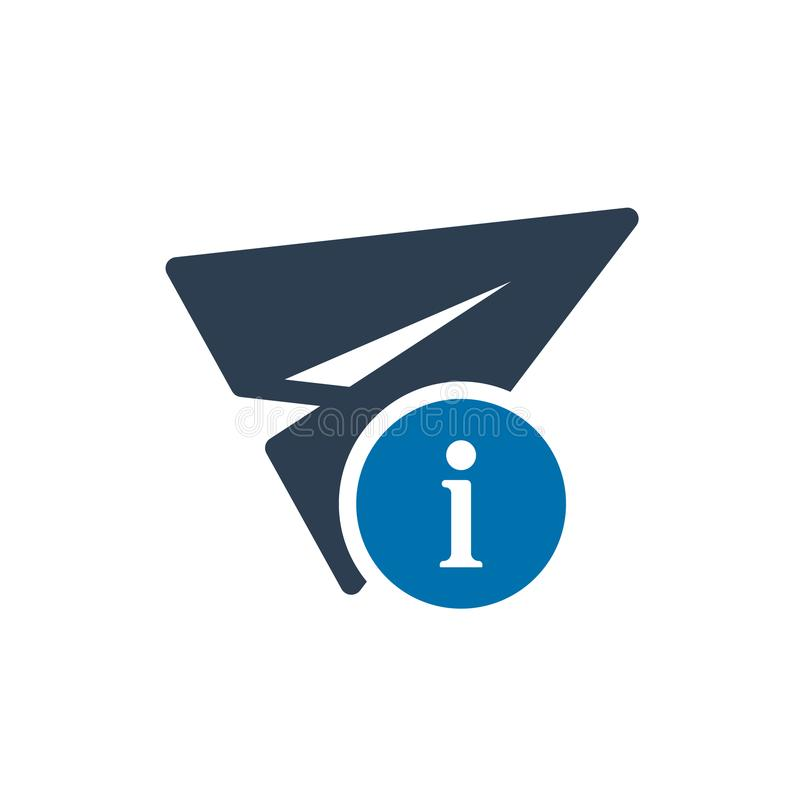 Paper plane icon, other icon with information sign. Paper plane icon and about, faq, help, hint symbol. Vector illustration royalty free illustration