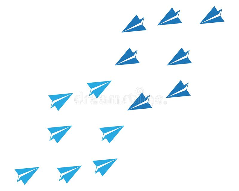 Paper plane icon vector illustration design. Logo Template, symbol, fly, airplane, concept, travel, isolated, business, background, flight, wing, aviation stock illustration
