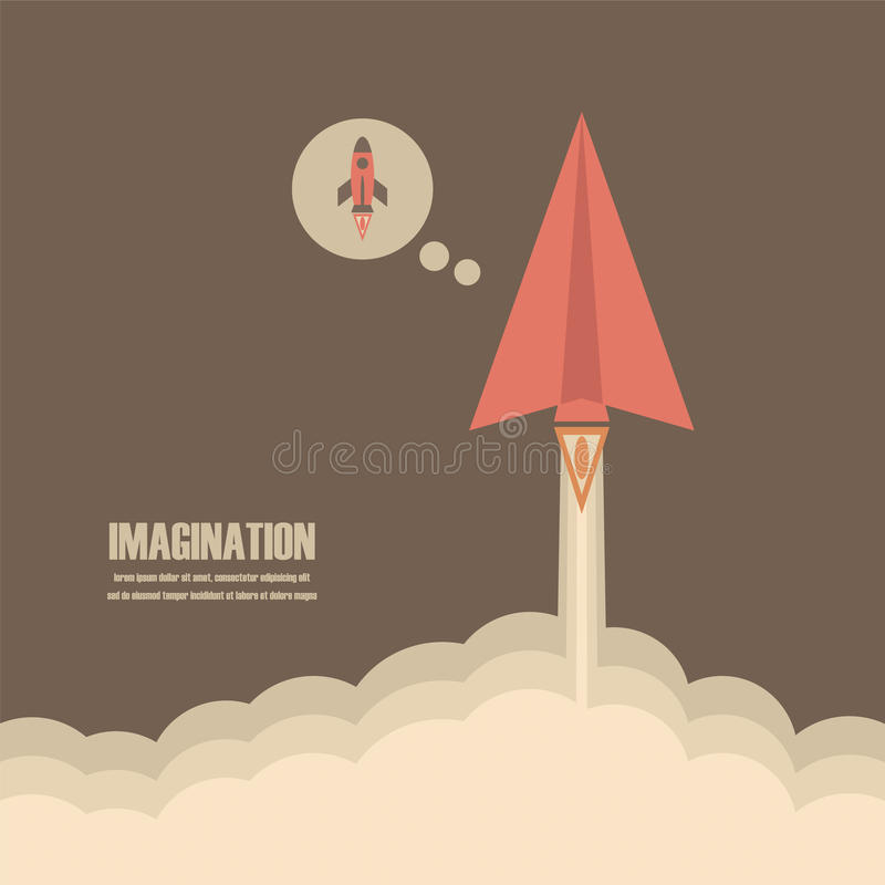 Paper plane. Lanch to sky , imagination concept vector illustration