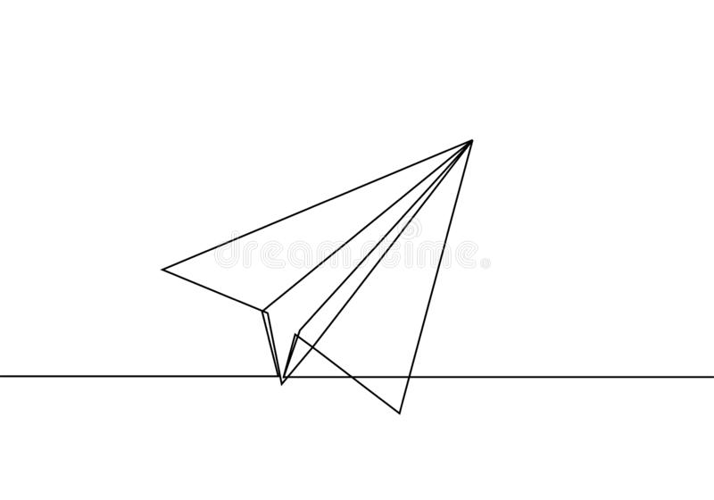 Paper plane line drawing continuous one lineart design minimalism stock illustration