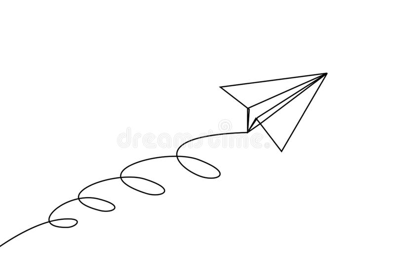 Paper plane line drawing continuous one lineart design minimalism vector illustration
