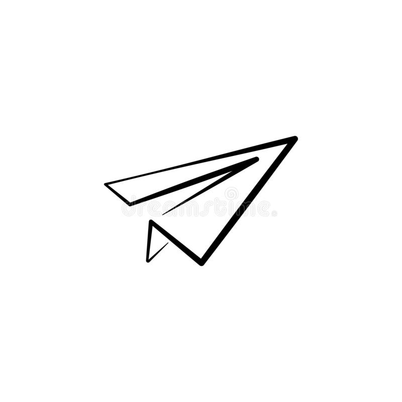 Paper plane line icon. Flat origami airplane isolated on white background. Vector illustration. royalty free illustration