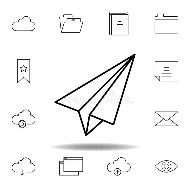 paper plane outline icon. Detailed set of unigrid multimedia illustrations icons. Can be used for web, logo, mobile app, UI, UX stock illustration